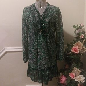 EUC Michael Kors Boho Green Paisley Mini Dress